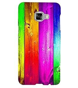 PrintVisa Colorful Wood Pattern 3D Hard Polycarbonate Designer Back Case Cover for Samsung C5