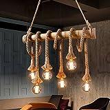 Aiwen Hanf Seil Leuchter Deckenleuchte(lichtquelle nicht enthalten)6 Lampenfassungen
