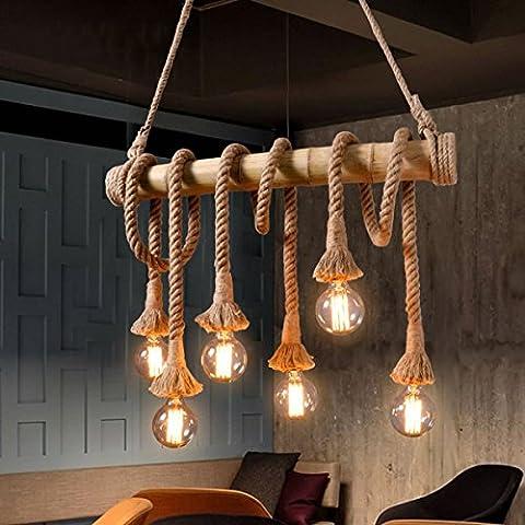 Aiwen Hemp Rope Chandelier Pendant Light Ceiling Lamp(Bulbs not Included) Brown 6 lamp holder