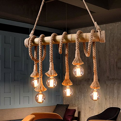 cheap rustic lighting. Aiwen Hemp Rope Chandelier Pendant Light Ceiling Lamp(Bulbs Not Included) Brown 6 Lamp Holder Cheap Rustic Lighting I