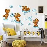 kina RCC0026 Adesivo murale per Bambini Wall Art - Teneri Orsetti - Misure 120x30 cm - Decorazione Parete, Adesivi per Muro, Carta da Parati