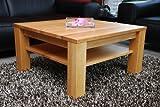 Holz-Projekt-Summer Couchtisch 60x60cm Höhe 42 cm, mit Ablage Erle/Echtholz Massivholz/Sondermaß möglich