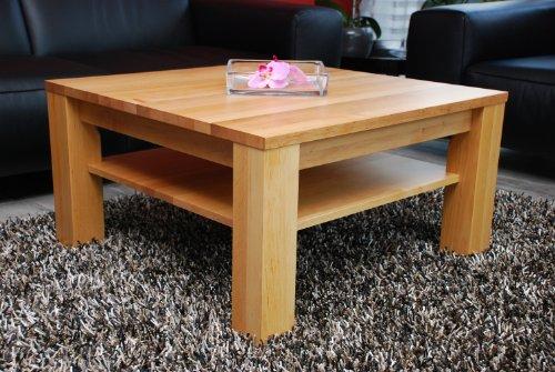 Couchtisch-Wohnzimmertisch 70x70 cm mit Ablage / Erle / Echtholz / Massivholz / Höhe 42 cm (42 Couchtisch)