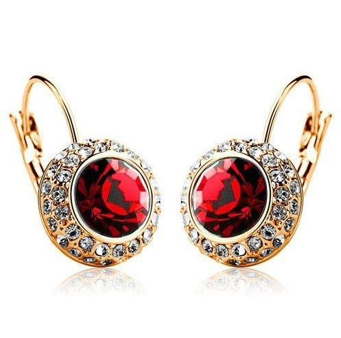 YouBella Stylish Latest Design Jewellery Gold Plated Clip-On Earrings for Women (Red) (YBEAR_32416)