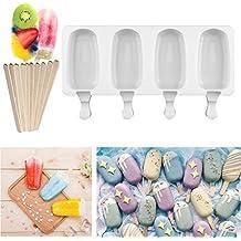 Molde de silicona para helado con forma de paleta de helado + 4 palos de madera