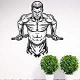 Bomdow Muskelmann Wandaufkleber Gym Sport Dekoration Bodybuilding Männer Vinyl Wandtattoo Muskeltraining Wandkunst Poster 57X62 Cm
