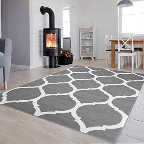 Tapiso Luxury Teppich Kurzflor Weiss Grau Modern Marokkanisch Geometrisch Gitter Muster Wohnzimmer Jugendzimmer ÖKOTEX 140 x 200 cm -