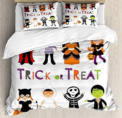 Kostüm Twin Skelett - LnimioAOX Halloween Bettwäscheset, Süßes oder Saures Bunte Kinder Halloween Kostüme Skelett Prinzessin Vampir Hexe, Dekoratives 3-teiliges Bettwäscheset mit 2 Kissenbezügen, Multicolor Twin/Twin XL