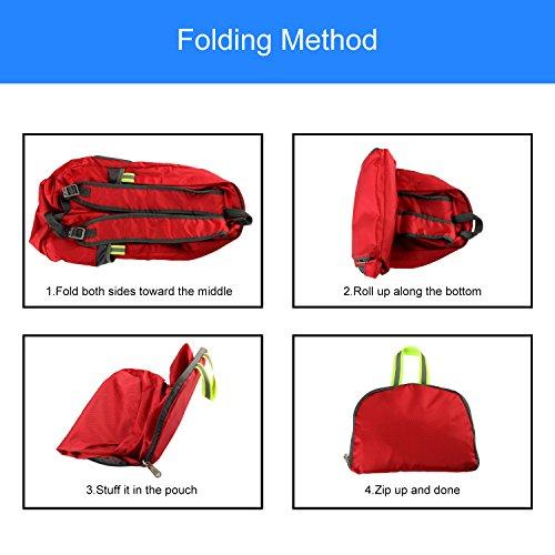 Discoball® borsa da viaggio portatile pieghevole zaino outdoor impermeabile durevole arrampicata zaino di grande capacità leggero alla moda da viaggio (blu/rosso/giallo), Yellow rosso  - rosso