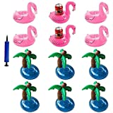 iLoveCos Flamenco Hinchable Flotador Posavasos con Palmera Titular de Bebida Pool Flotador Bebidas Decoraciones Juguetes de Baño Para Niños y Adultos(13 piezas)