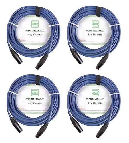 4er Set Pronomic Stage DMX3-5 DMX-Kabel 5 Meter (zur Verkabelung von Lichteffekten, Goldkontakte, Mantelfarbe: Blau, XLR Male zu XLR Female) (Öl-leitung Lange)