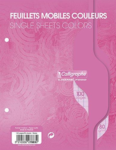 """Clairefontaine Papier 17x 22cm """"pink"""" Seyes liniert 2Loch Loose Leaf Papier gestanzt (50Stück Blatt)"""