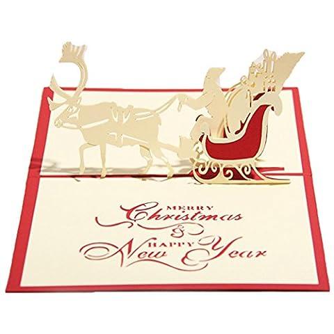 Vic Gruppe Creative Weihnachten Karten Geschenk Karte Handmade Grußkarten 3D Design Festival Segen Karte Christmas Eve Christmas Sleigh