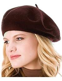 kimming 100% lana Color sólido francés boina Beanie Cap gorro