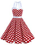 Dresstells Neckholder Rockabilly 50er Polka Dots Punkte Kleid Petticoat Faltenrock Red White Dot XL
