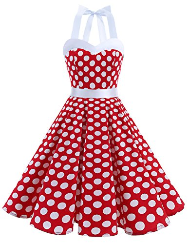 50er Pin Kostüm Jahre Up - DRESSTELLS Neckholder Rockabilly 1950er Polka Dots Punkte Vintage Retro Cocktailkleid Petticoat Faltenrock Red White Dot XL