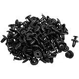 SODIAL(R) 100 pieces x rivet de fixation en plastique pour la voiture Noir 15 x 13 x 6 mm