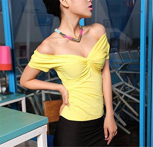 Femmes Sexy Summer Couleur Unie A Manches Courtes Col En V T-Shirt Slim Sexy Tops Chemises Jaune