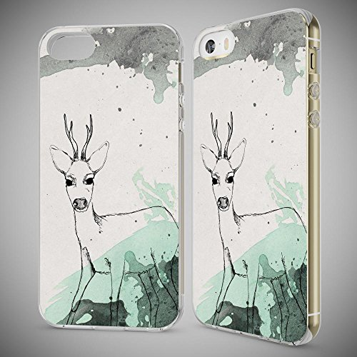 iPhone SE 5 5S Hülle Handyhülle von NICA, Slim Silikon Motiv Case Schutzhülle Dünn Durchsichtig, Etui Handy-Tasche Back-Cover Transparent Bumper für Apple iPhone 5 5S SE, Designs:Deer Deer