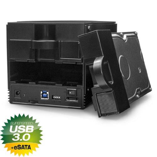 FANTEC SQ-X2RU3e Externes 2-fach RAID Festplattengehäuse (für den Einbau von 2x 8,89 cm (3,5 Zoll) SATA I/II/III Festplatten, USB 3.0 SUPERSPEED und eSATA Anschluss, 6G Support, RAID Funktion (0/1/JBOD/BIG Modus), 80 mm Lüfter manuell und stufenlos steuerbar) schwarz