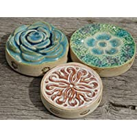 Set Keramik Tischdeko Dekosteine Beige Türkis