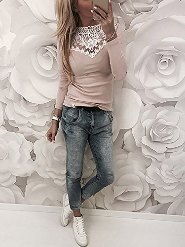 Ninimour Womens Long Sleeve Patchwork Lace Splicing T-Shirt Blouse Tops