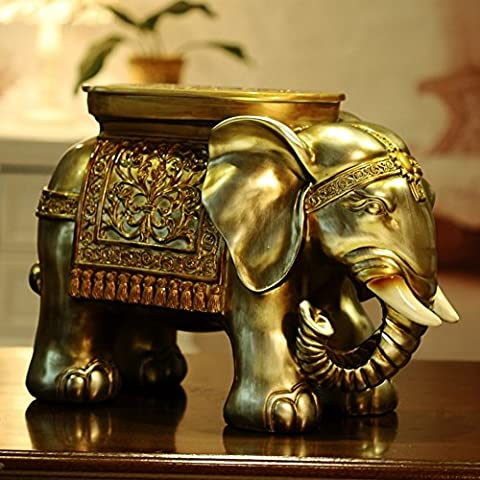 Southeast Asian Style Elephant Stool Stand/Flower Decorative Ornaments-A