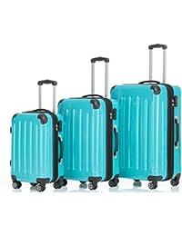 1ca0af76e Beibye – 3 maletas rígidas con ruedas a juego, en 14 colores, turquesa.  B06WV89XDQ