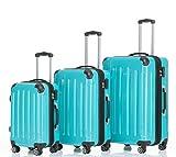 2048 Zwillingsrollen 3 tlg. Reisekofferset Koffer Kofferset Trolley Trolleys Hartschale in 14 Farben (Türkis)