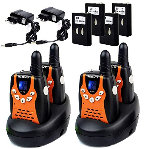 Retevis RT602 Walkie Talkies Kinder PMR Funkgerät 8 Kanäle mit Wiederaufladbare Akkus Taschenlampe VOX LCD-Display Walki Talki Kinder Spielzeug Spy-Gear (2 Paar, Orange)