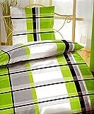 4-tlg.Sommer-, hauchdünne, kühlende Microfaser Bettwäsche weiss/grün kariert 2x 135x200 Bettbezug + 2x 80x80 Kissenbezug mit Reißverschluss