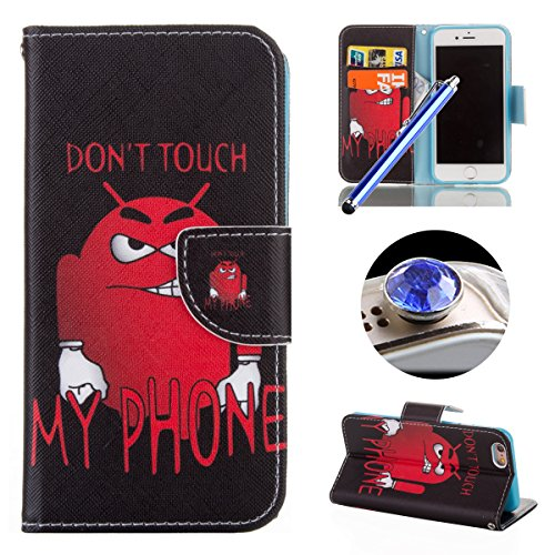 Etsue für iPhone 6 Plus/6S Plus Blau Himmel Leder Brieftasche Case Hülle Muster, Bunte Retro Painted Wallet Flip Case Cover Leder Case Tasche Bookstyle Lederhülle Magnetverschluß Standfunktion mit Kar Do Not Touch My Phone-Bär