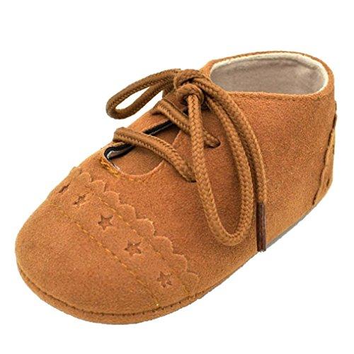 Baby schuhe Bovake Baby Kleinkind Schuhe Sneaker Anti-Rutsch-Soft Sole Schnürschuhe (11, Brown) (1 Kleinkind-brown-leder-schuhe)