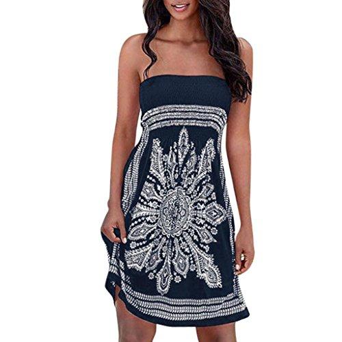 Frauen Strapless Floral Böhmischen Casual Strandkleid Vertuschungen Kleid (Größe 20 Dorothy Kostüm)