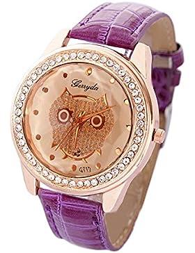 SODIAL (R) Dame Getoentes Glas Eule Guertel Uhr Kristall Verzierte Quarz Armbanduhr mit lila Band