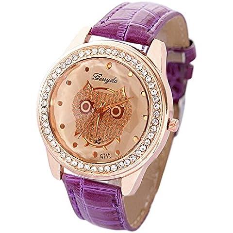 Reloj - SODIAL(R)Esfera de champana Buho Reloj de pulsera de cuarzo decorados cristales de mujer Banda purpura