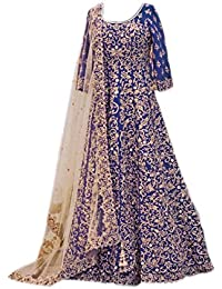 Generic Aryan Fashion Women's Banglory Silk Semi-Stitched Lehanga Choli (Blue)