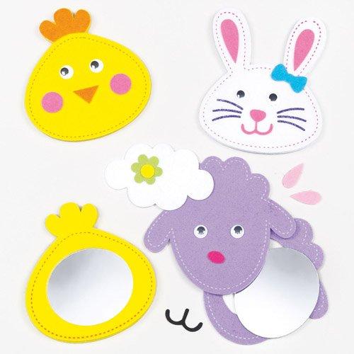 Bastelsets für Taschenspiegel mit Osterfigur für Kinder Zum Selberkreieren und als Geschenkidee (3 Stück)