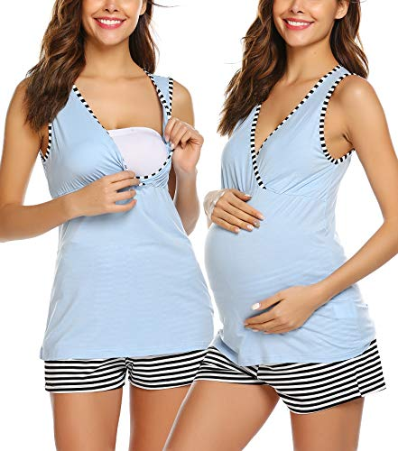 Unibelle Damen Stillpyjama-Umstandspyjama-Schlafanzug Zweiteilig Hausanzug Pyjamas Rundausschnitt Loungewear Mittelgrau M
