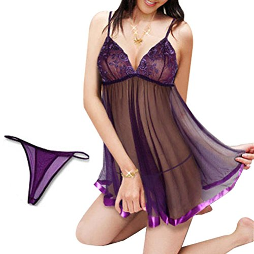 Lace-up Chemise (FANGHAO Frauen sexy Plus tiefem V-Ausschnitt Lace Lace-up-Wäsche Garterbelt Wäsche G-Strings Chemise, Purple, XXXL)