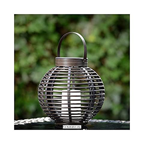 Rattan Effect Solar LED Candle Table Lamp Garden Patio Balcony Decor Light.