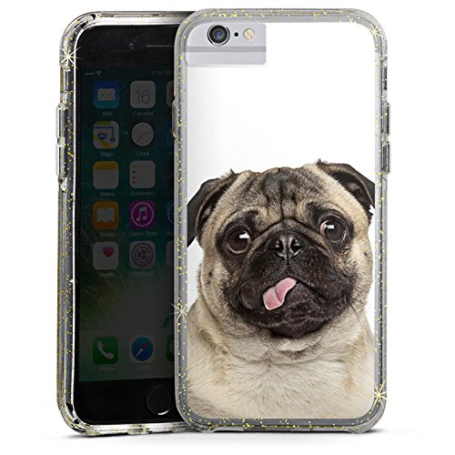 Apple iPhone 7 Plus Bumper Hülle Bumper Case Glitzer Hülle Mops Welpe Chien Bumper Case Glitzer gold