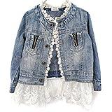 Mädchen Jeansjacke Denim Mantel Outwear mit Spitze, Leichte Denim Jacket Kinder Herbst und Winter Beiläufige Outwear, 2-10 Jahr