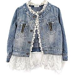 Idea Regalo - Giacca di Jeans Bambina, Moda Denim Giacca Manica Lunga Cappotto Con Orlo Di Pizzo Casuale Capispalla,2-10 anni