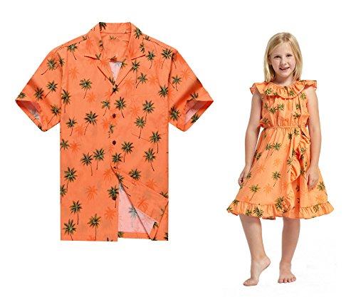 Hecho-en-Hawaii-Vestido-a-juego-de-la-camisa-del-padre-Hija-Luau-Vestido-en-naranja-Palma-verde-L-6