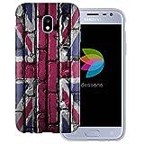 dessana England Transparente Silikon TPU Schutzhülle 0,7mm dünne Handy Tasche Soft Case für Samsung Galaxy J3 (2017) England Flagge