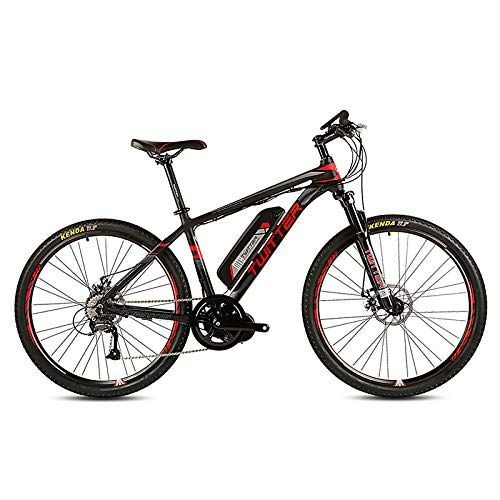 51XkWwlapyL. SS500  - POTHUNTER Electric Mountain Bike, Rear Drive Electric Mountain Bike SHIMANO M370-27 High Speed 36V 10AH Front And Rear Double Disc Brakes Electric Bicycle Mountain Bike,Black-red-26in*17in
