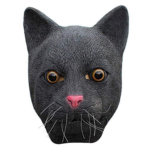 Für Scary Kostüm Hunde - Lumon Halloween Maske, Lustige Hund Maske Pudel Maske Schwarz Katzenmaske, Latex Maske Halloween Cosplay Scary Kostüm Party Dekoration für Halloween Erwachsene Party