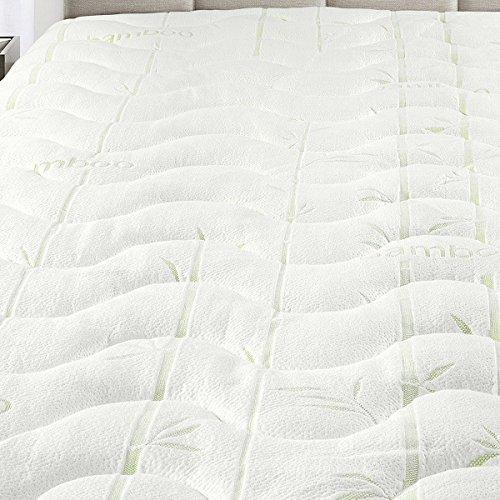 Extra Lange Matratze Pads (Royal Hotel Hypoallergen kühlen Bamboo JACQUARDWEBSTUHL Fitted Matratzenauflage Extra Plüsch und weiche Matratze Pad Weiß Twin XL)