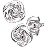Naava Women's Diamond 9 ct White Gold Flower Earrings